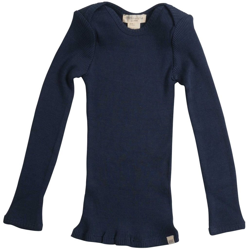 Minimalisma - long-sleeve baby shirt silk BELFAST - fine rib - 70% silk- dark blue -  0 to 24 months