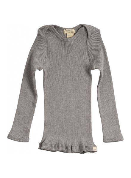Minimalisma - zijden baby shirt BELFAST - fijne rib - 70% zijde - grijs - 0 tm 24 maanden