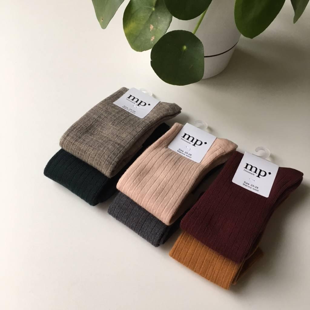 MP Denmark - woolen ankle socks women - 80% merino wool -  beige melange - size 37 to 42