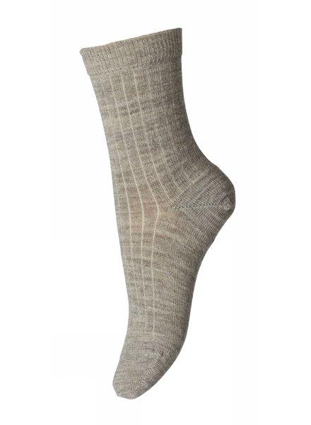 MP Denmark - wollen enkel sokken dames - 80% merino wool - gemeleerd beige - maat 37 tm 42