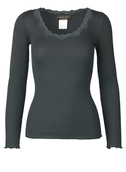 Rosemunde - women silk shirt with lace - 70% silk/ 30% cotton (knitwear) - dark grey - S to XL