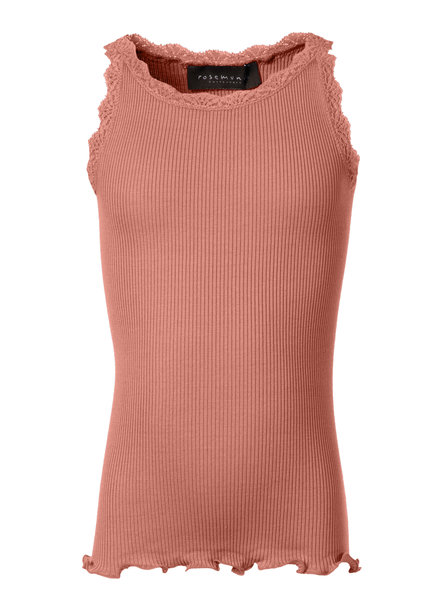 Rosemunde LOU girls silk top with lace - 55% silk/ 45% cotton (knitwear) - terracotta pink - 2 to 12 years