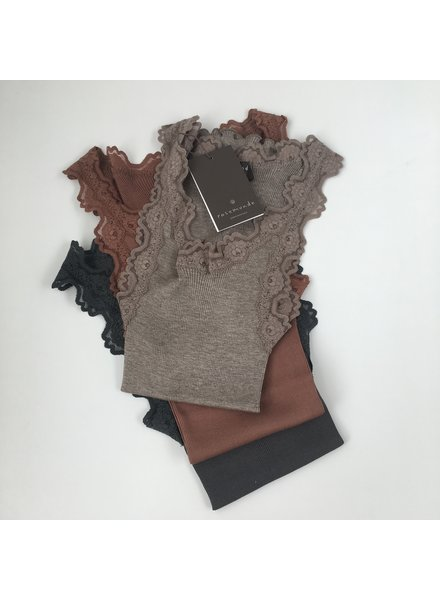 Rosemunde - women silk shirt with lace - 70% silk/ 30% cotton (knitwear) - brown melange - S to XL