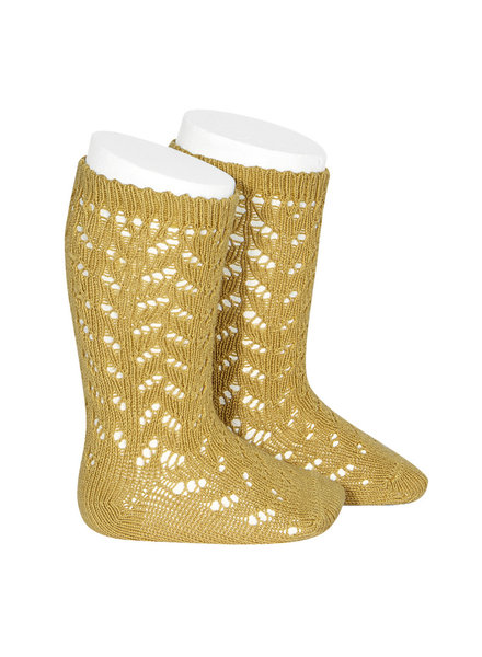 Condor - open work knee socks - 80% cotton - mustard - size 0 to 31