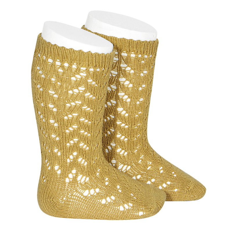 Condor - open work knee socks - 80% cotton - mustard - size 0 to 31