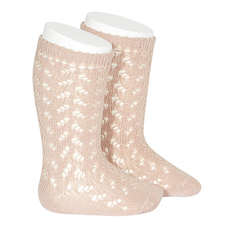 Condor - open work knee socks - 80% cotton - pink - size 0 to 31