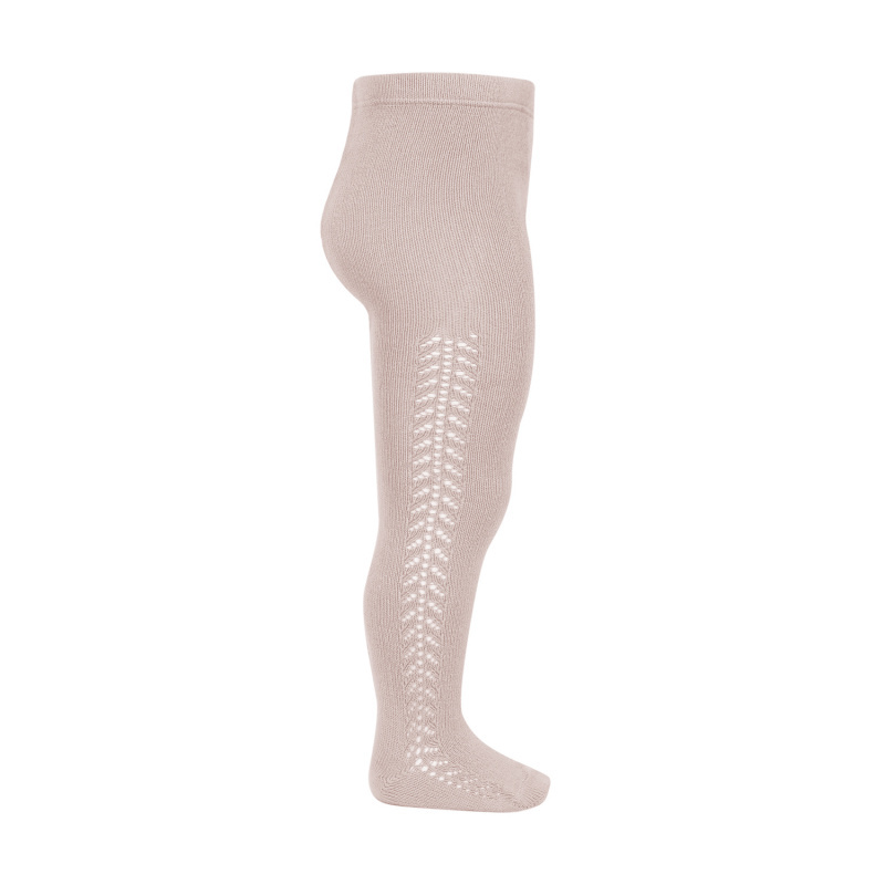 Condor - cotton tights - side openwork - old pink - 50 to 118 cm