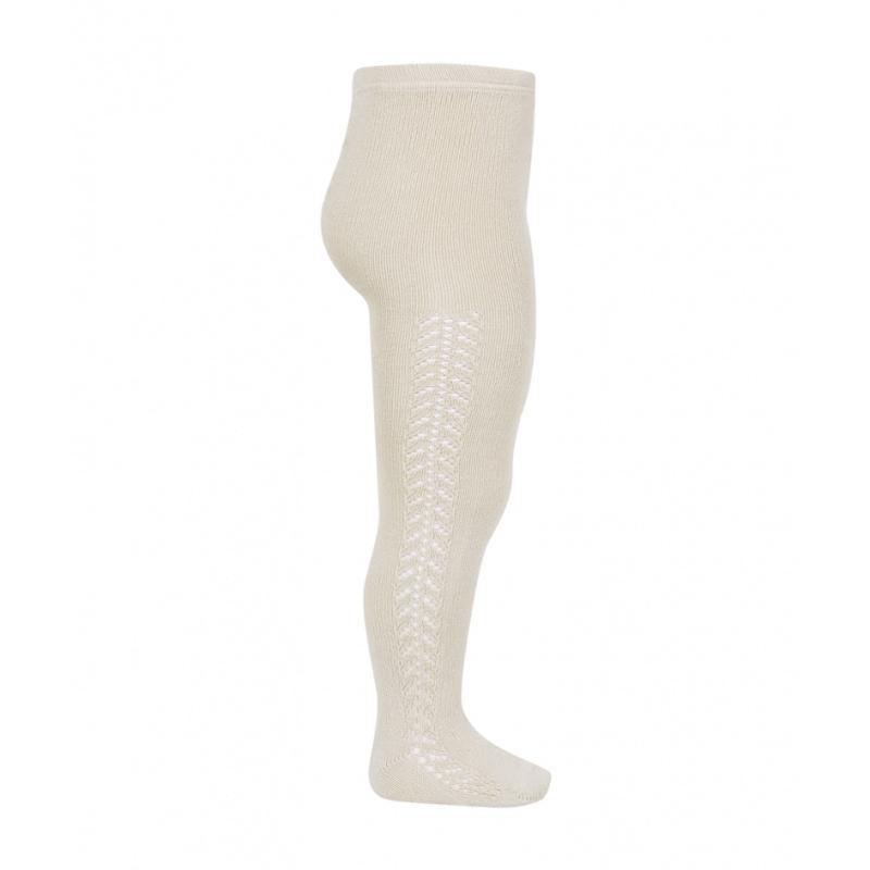 Condor - cotton tights - side openwork - linen beige - 50 to 118 cm