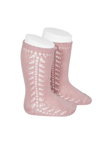 Condor - cotton knee highs  - side openwork - pink - size 0 to 31