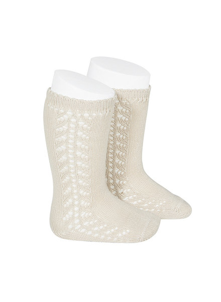 Condor - cotton knee highs - side openwork - linen beige - size 0 to 31