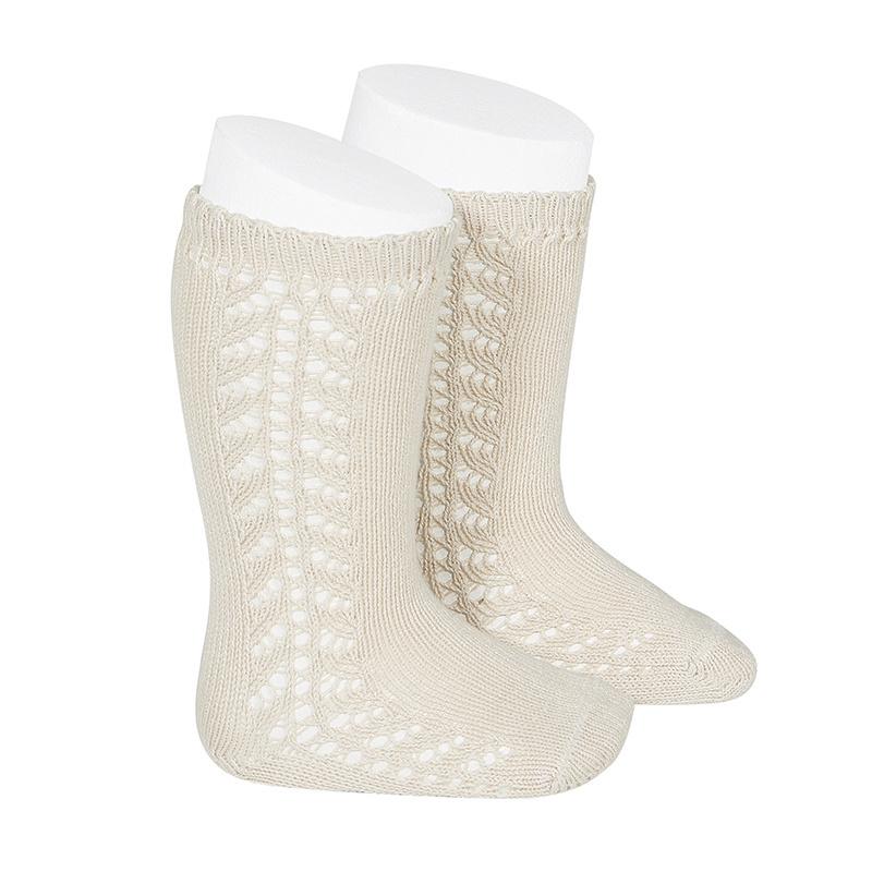 Condor - cotton knee highs - side openwork - linen beige - size 0 to 31
