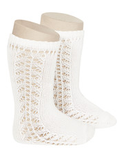 Condor - cotton knee highs - side openwork - natural beige - size 0 to 31