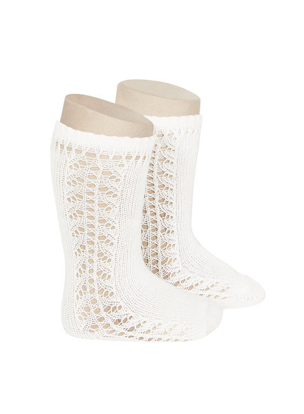 Condor - cotton knee highs - side openwork - cream white - size 0 to 31