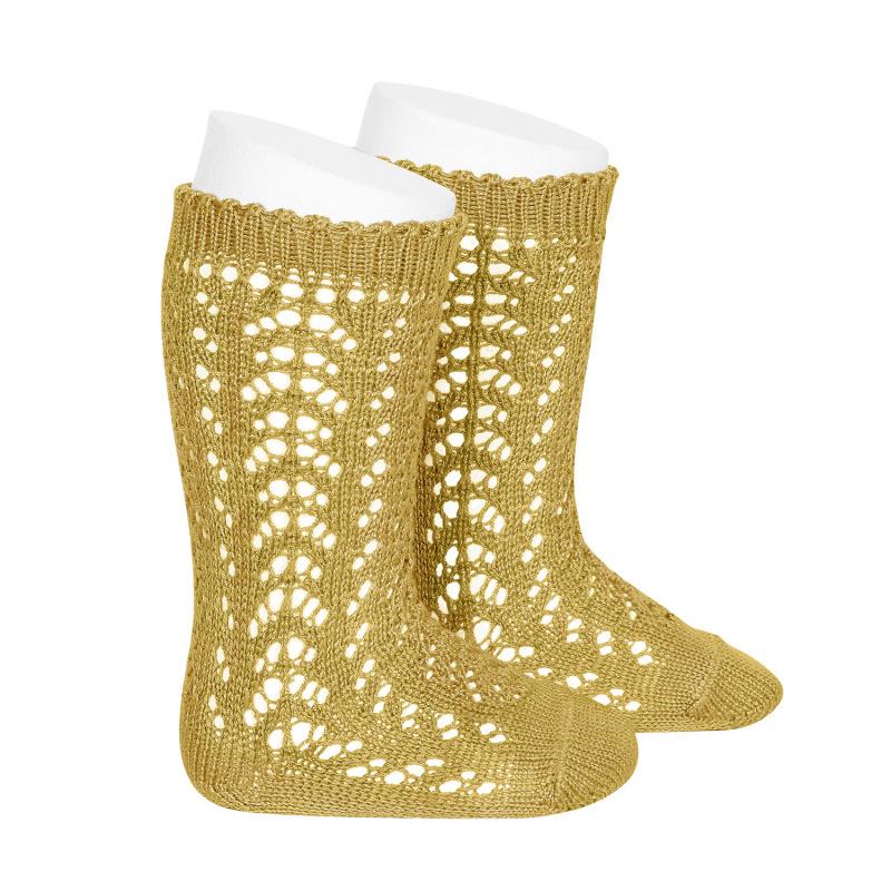 Condor - open work knee socks - 100% cotton - mustard - size 0 to 41