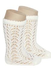 Condor - open work knee socks - 100% cotton - natural beige - size 0 to 39