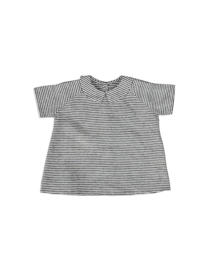 As We Grow - linen blouse ORK - 100% linen - ecru/ grey stripes - 18m to 8 years