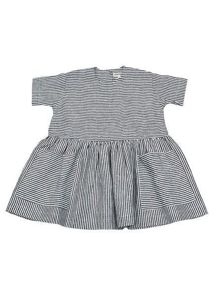 As We Grow - linnen POCKET DRESS- 100% linnen - ecru/ grijs gestreept - van 6m tm 8 jaar