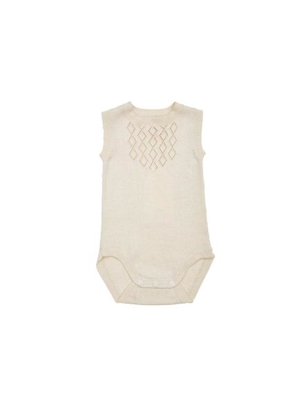 As We Grow - knitted DIAMOND body - 100% organic cotton - ecru white - 0m to 18m
