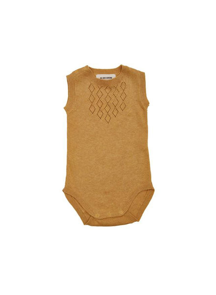 As We Grow - knitted DIAMOND body - 100% organic cotton - ochre - 0m to 18m