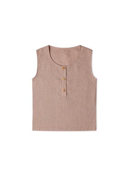 Matona - linen tantkop FAWN - 100% linen - dusty rose - 1 to 6 years