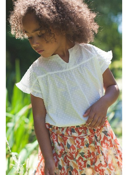 Marlot Paris - girls blouse SUZETTE - 100% cotton - white - 4 to 10 years