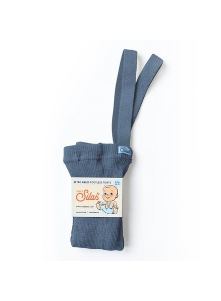 Silly Silas footless tights with braces - 100% cotton - steel blue - 6 m to 4 years