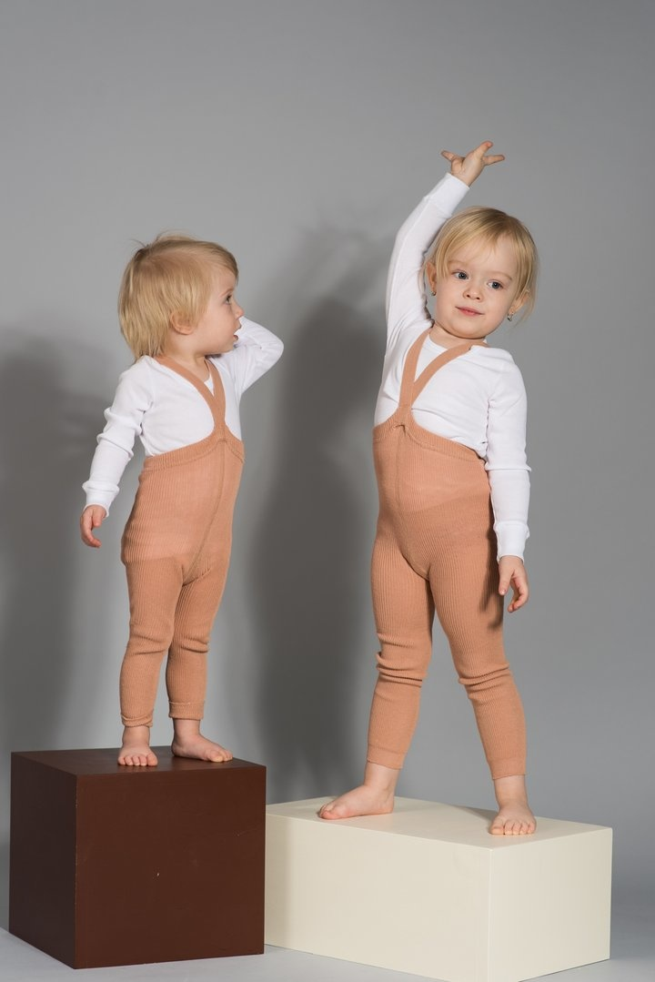 Silly Silas - footless tights with braces - 100% cotton - light salmon brown - 6 m to 3 years