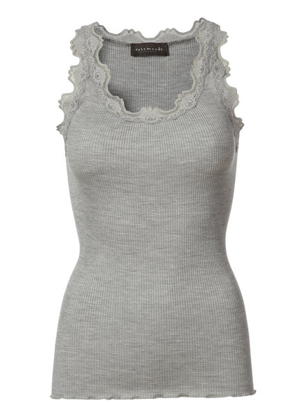 Rosemunde - women silk top with lace -  70% silk / 30% cotton - grey - S tm XL
