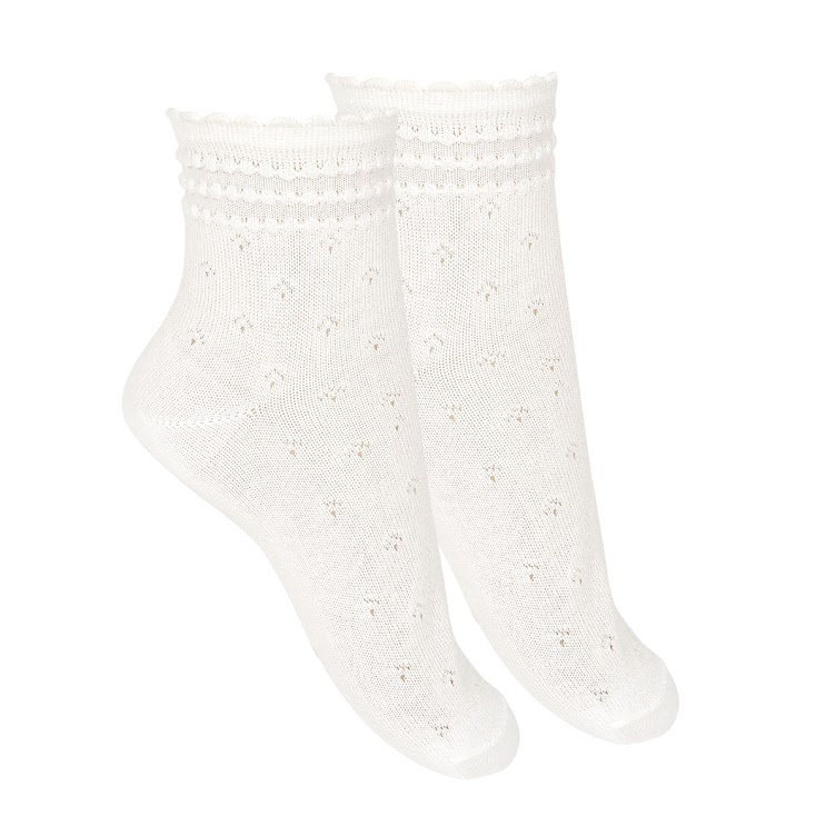 Condor - cotton ankle socks with eyelets - white - size 0 to 39