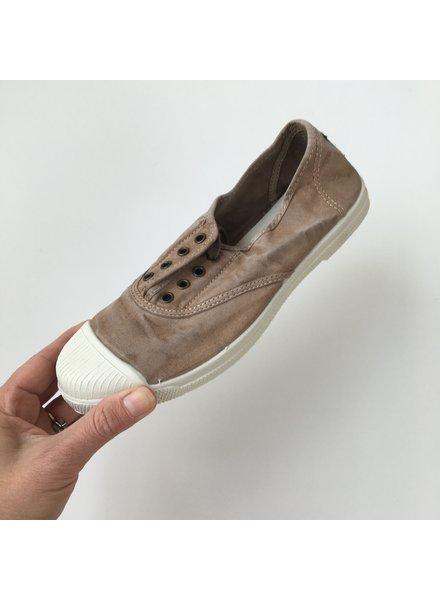 NATURAL WORLD - eco sneakers dames - 100% biologisch katoen/100% natuur rubber - stone washed bruin/ beige