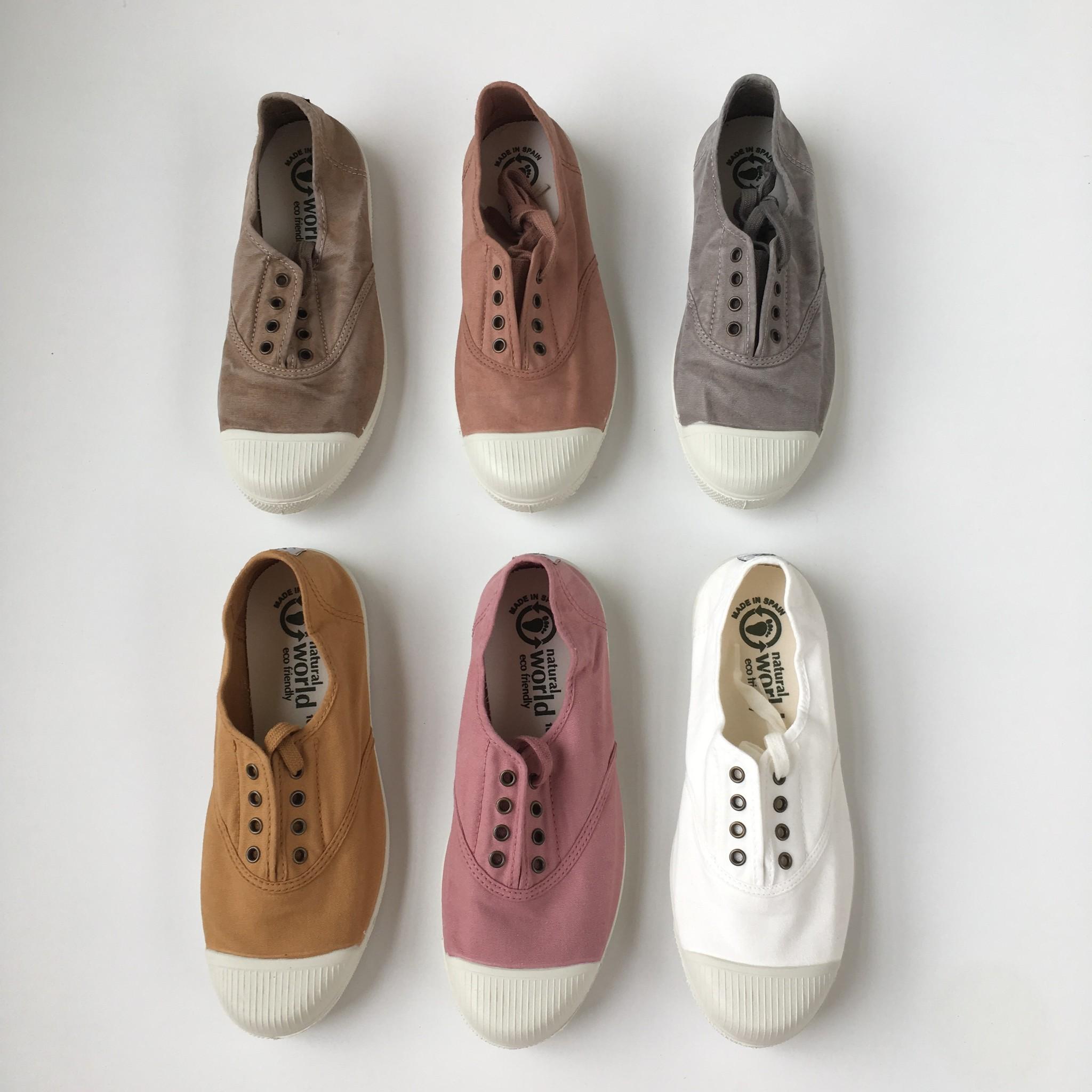NATURAL WORLD - eco sneakers dames - 100% biologisch katoen/100% natuur rubber - stone washed licht grijs