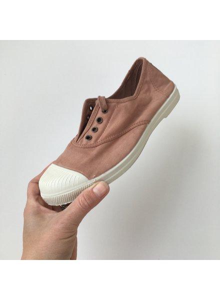 NATURAL WORLD - eco sneakers dames - 100% biologisch katoen/100% natuur rubber - stone washed klei roze