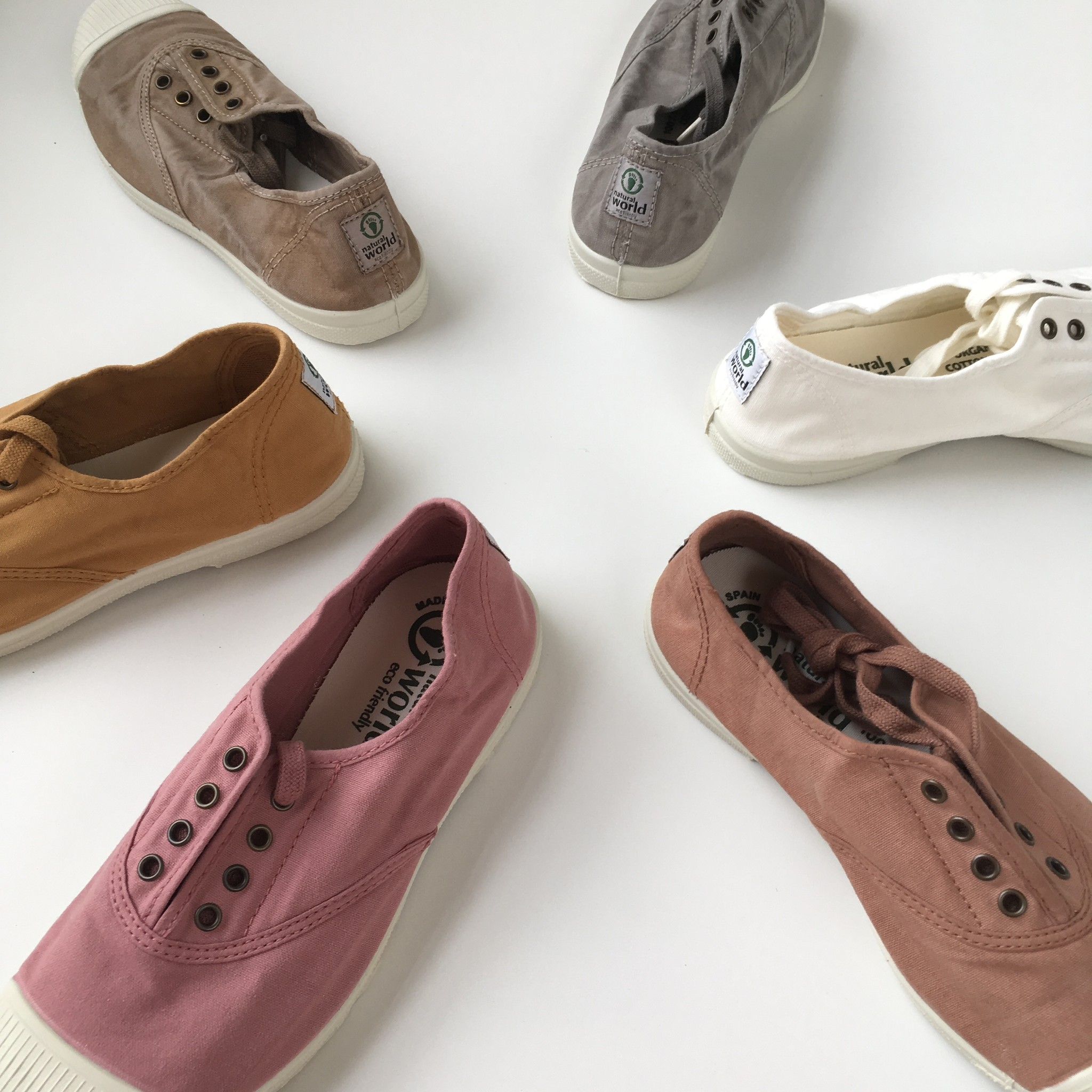 NATURAL WORLD - eco sneakers dames - 100% biologisch katoen/100% natuur rubber - wit