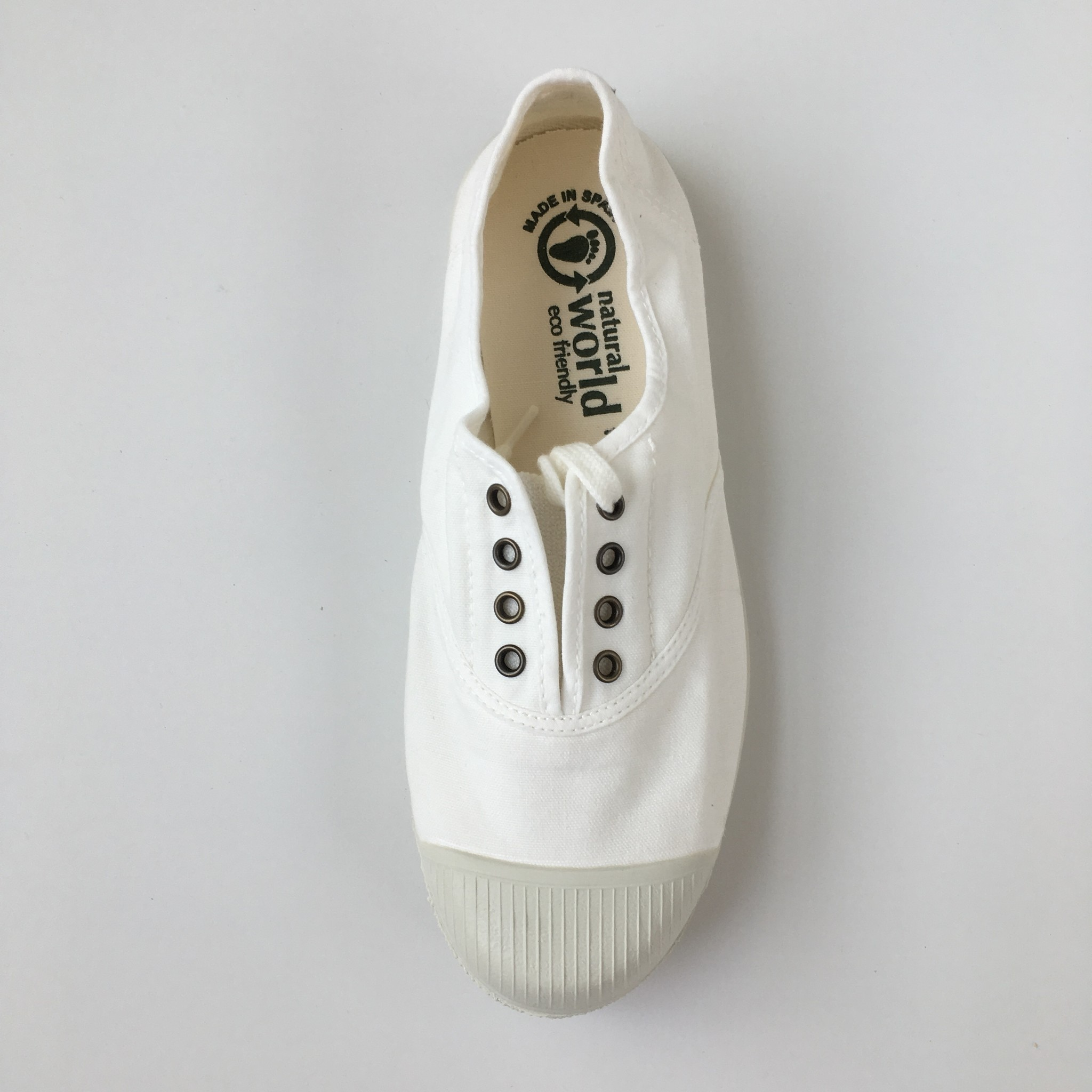 NATURAL WORLD - eco sneakers women - 100% organic cotton / 100% natural rubber -  white