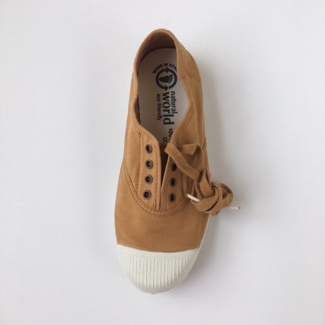 NATURAL WORLD - eco sneakers dames - 100% biologisch katoen/100% natuur rubber - mosterd geel