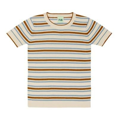 FUB - knitted shirt - finely knitted - 100% organic cotton - ecru ochre/ blue stripes - 90 to 130