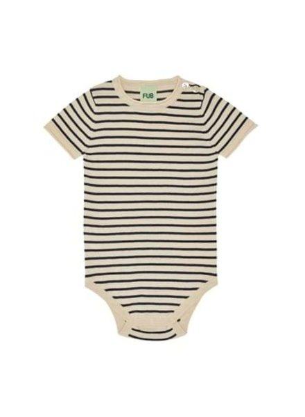 FUB - cotton romper body - 100% organic cotton - ecru/ navy stripes - size 56 to 92