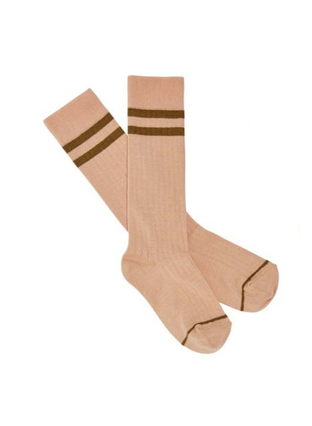 FUB - cotton knee highs rib - pink/ ochre sienna stripes - 19 to 39