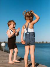 Silly Silas korte maillot/ shorts met bretels - 100% katoen - steel blue -  0 tm 3 jaar