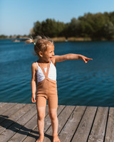 Silly Silas - shorty tights with braces - 100% cotton - salmon brown - 0 to 3 years