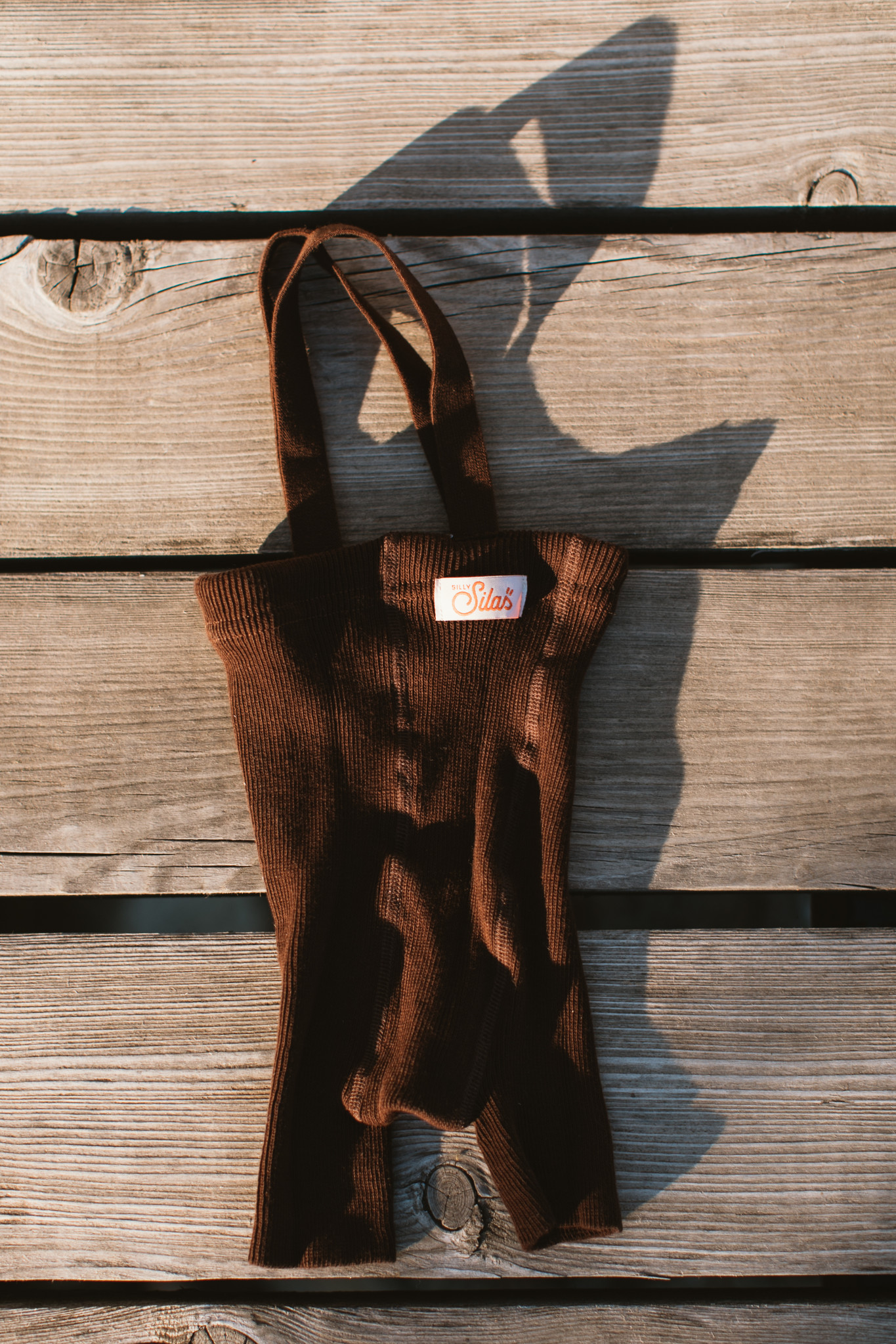 Silly Silas - korte maillot/ shorts met bretels - 100% katoen - chocolate brown -  0 tm 3 jaar