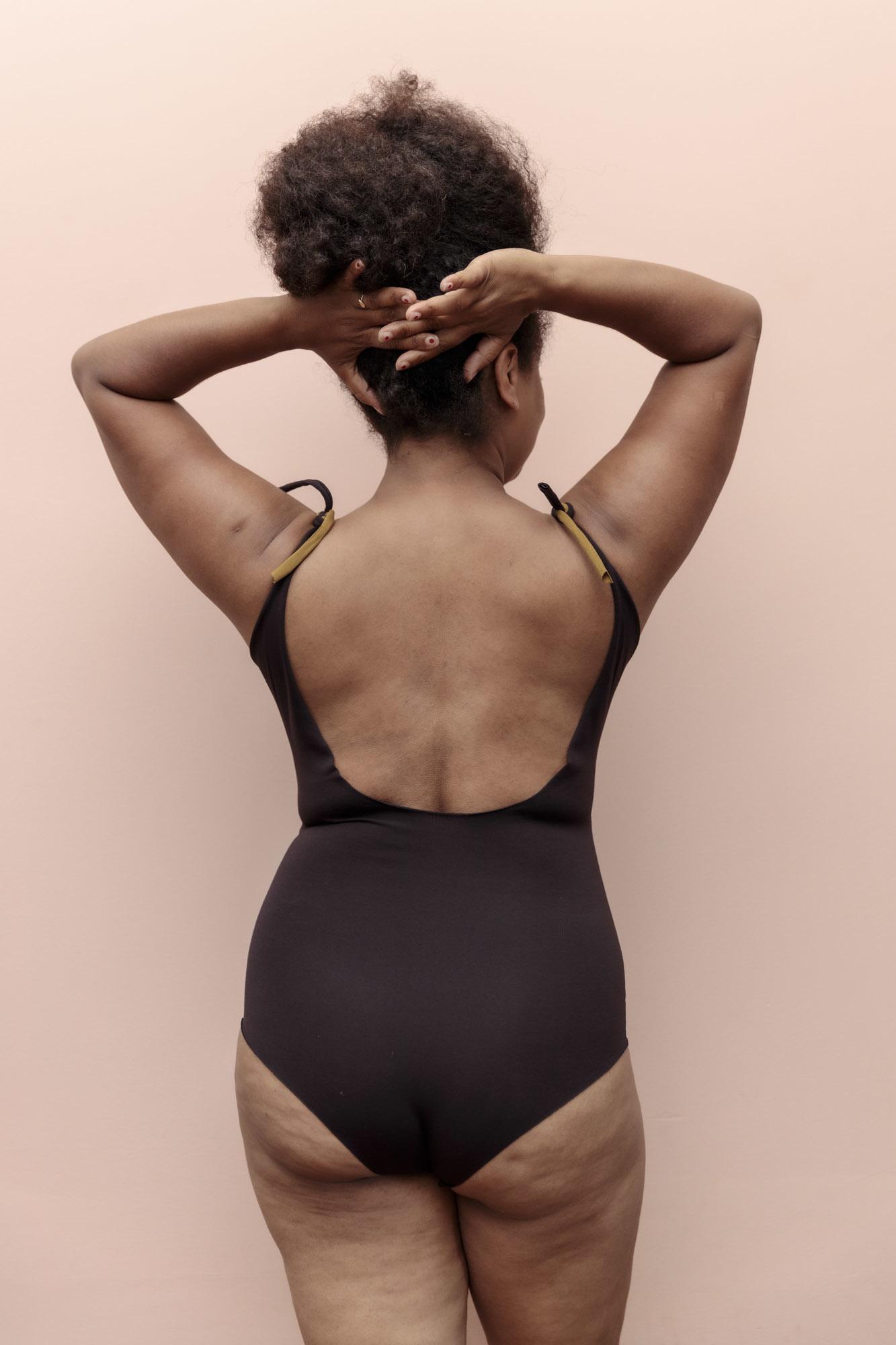 Isole e Vulcani  dames badpak INTERO - bio jersey katoen met stretch - bruin/marsala/ tapenade - S tm L