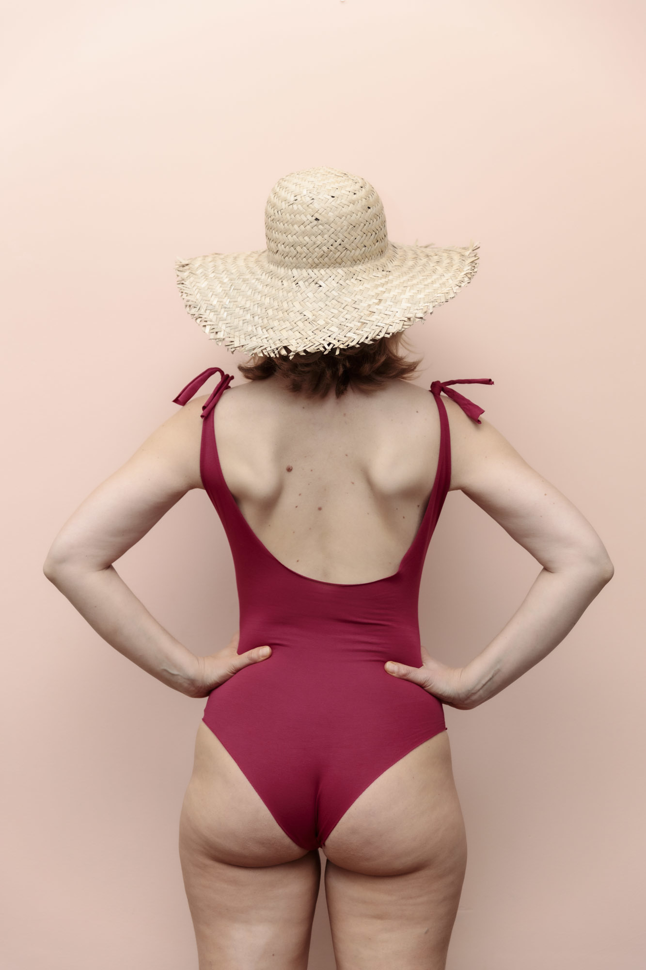 Isole e Vulcani  women swimsuit INTERO - organic jersey cotton with stretch - raspberry red - S to L
