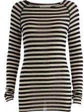 GAI + LISVA - longsleeve AMALIE - 28% wool, 67% viscose - chateau grey / black stripes - XS to XL