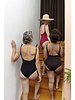 Isole e Vulcani  - dames badpak INTERO - bio jersey katoen met stretch - marsala rood - S tm L
