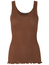 Rosemunde - ladies top silk v-neck BASTIA - knitting 70% silk / 30% cotton - amber brown - S tm XL