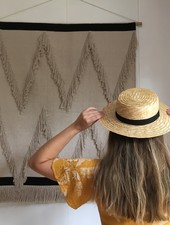 Siena - strooien hoedje / CANOTIER hoed  - kind & dames - zwart lint