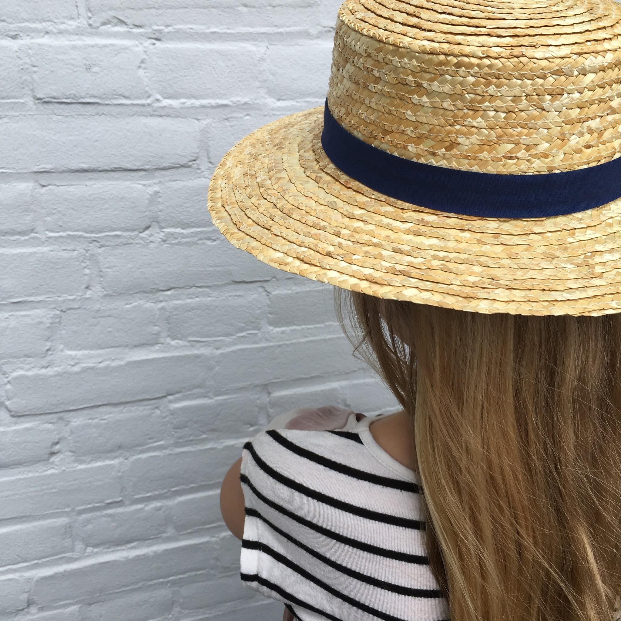 Siena - strooien hoedje / CANOTIER hoed  - kind & dames - blauw lint