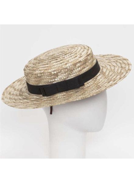 Siena - strooien hoedje / ARLES canotier hoed  - kind & dames - zwarte strik