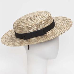 Siena - straw hat / ARLES canotier  hat  - child & ladies - black bow